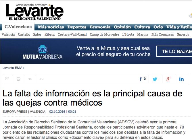 La falta de información es la principal causa de las quejas contra médicos (LEVANTE-EMV)